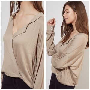 Taupe Surplice Long-Sleeve Blouse, Small, NWT.
